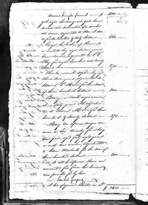 Inventory of Enslaved Persons owned by Doroth�©e Lassize upon her death