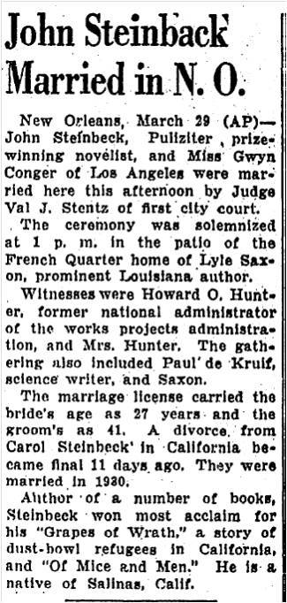 Baton Rouge Advocate newspaper article detailing the marriage of John Steinbeck.