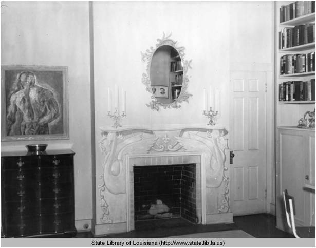Interior view of Lyle Saxon's Madison Street house in New Orleans Louisiana in the 1930s