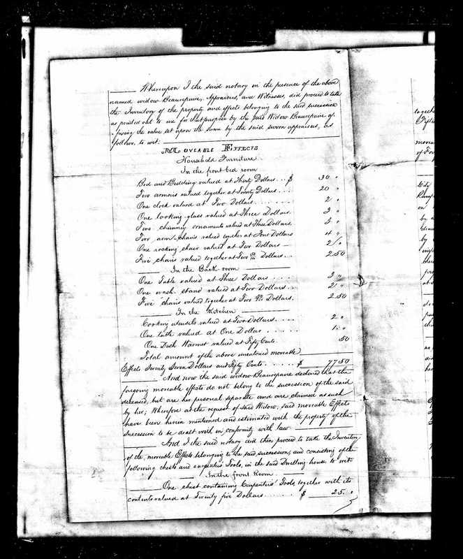 Inventory of Eugene Beaurepaire's Estate upon the time of his Death