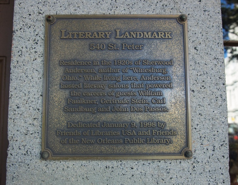 Close up of Plaque on 540 St. Peter Street