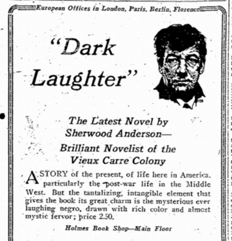 A Newspaper Advertisement for Anderson's<em>Dark Laughter</em>, 1925.